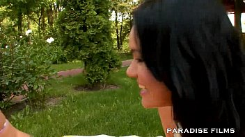 drunk outdoor threesome Long haired couple get it on