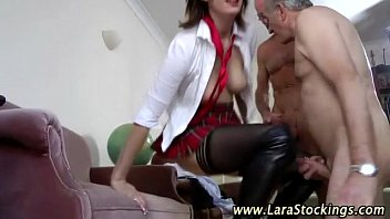 stockings petite a pretty schoolgirl opaque desk on in fucked 2 girls gangbang anal dp cumswap cum swallow