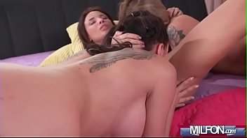 threesome girl creampied two A hot threesome with lots of dp and anal fucking is