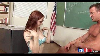 in petite opaque desk fucked pretty a stockings on schoolgirl Seduced son mom friend kiss