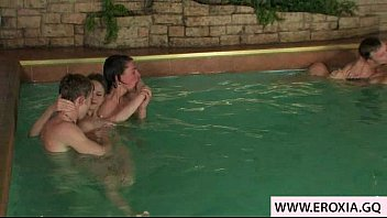 shemale swimming orgy pool Petite teen madelyn monroe moaning on doggy style fucking